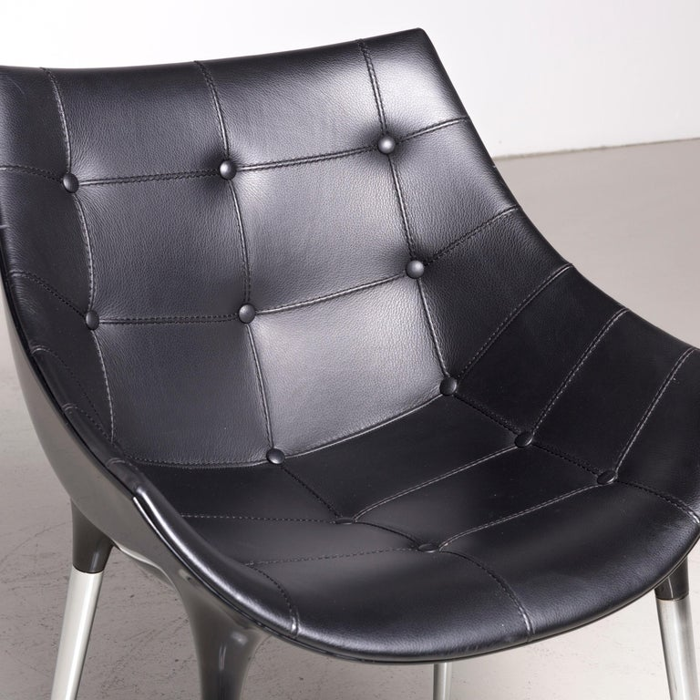 Contemporary Cassina Passion Leather Armchair Set Black by Philippe Starck