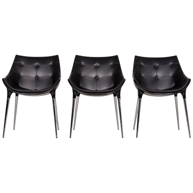 Cassina Passion Leather Armchair Set Black by Philippe Starck