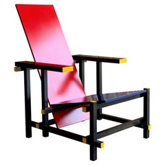 Cassina Red and Blue Chair by Gerrit T Rietveld Numbered 8488, Italy, circa 1970
