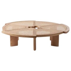 Cassina Rio Coffee Table with Vienna Straw Top and Natural Oak Base