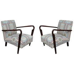 Cassina, Rosewood, Linen and Colors Silk Midcentury Pair of Lounge Chairs, 1940