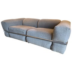 Cassina Sesann Sofa Loveseat by Gianfranco Frattini in Gray Fabric with Chrome