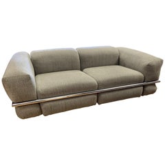 Cassina Sesann Sofa Designed by Gianfranco Frattini in Gray Fabric with Chrome