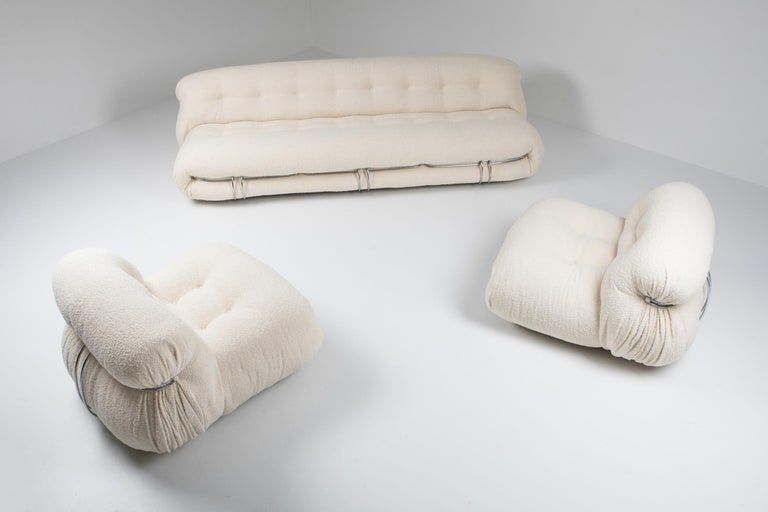 Cassina 'Soriana' Bouclé Sofa by Afra and Tobia Scarpa For Sale 5