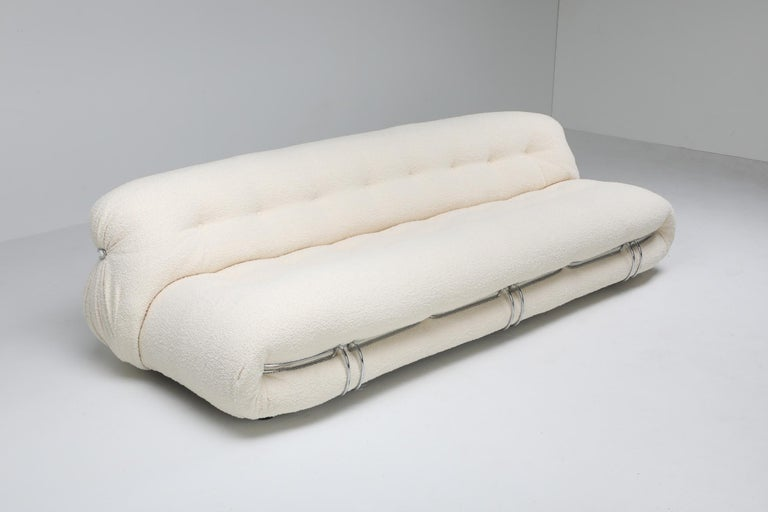 Post-Modern Cassina 'Soriana' Bouclé Sofa by Afra and Tobia Scarpa For Sale