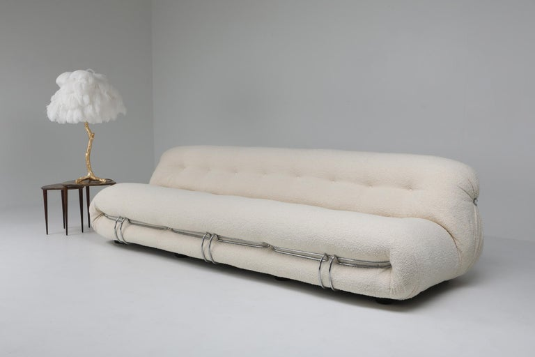 Cassina 'Soriana' Bouclé Sofa by Afra and Tobia Scarpa For Sale 1