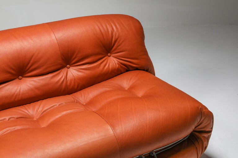 Cassina 'Soriana' Cognac Leather Sofa by Afra and Tobia Scarpa For Sale 4