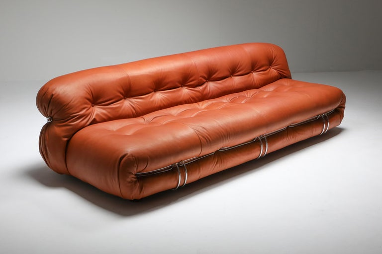 Postmodern couch by Afra and Tobia Scarpa for Cassina reupholstered in aniline leather  Manufactured by Cassina in the 1970s, the Soriana collection was meant to express beauty and comfort by using a whole bundle of fabric held by a chrome-plated