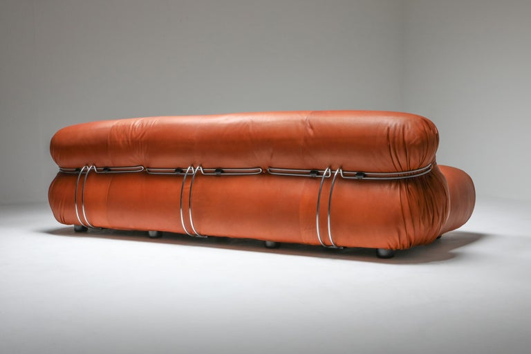 Post-Modern Cassina 'Soriana' Cognac Leather Sofa by Afra and Tobia Scarpa