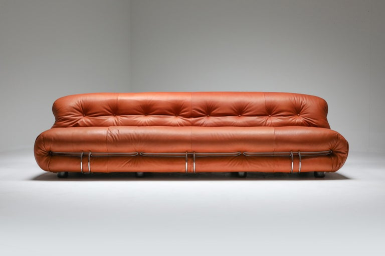 Italian Cassina 'Soriana' Cognac Leather Sofa by Afra and Tobia Scarpa