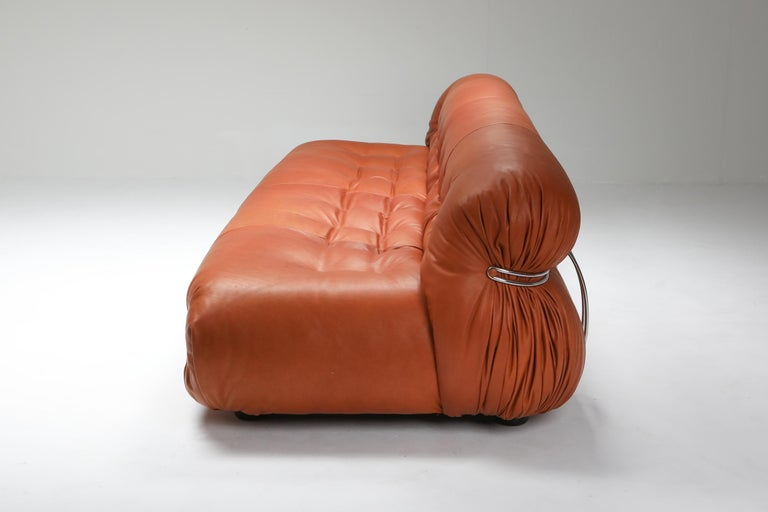 Late 20th Century Cassina 'Soriana' Cognac Leather Sofa by Afra and Tobia Scarpa For Sale
