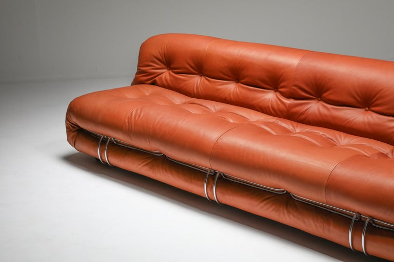Cassina 'Soriana' Cognac Leather Sofa by Afra and Tobia Scarpa For Sale 2