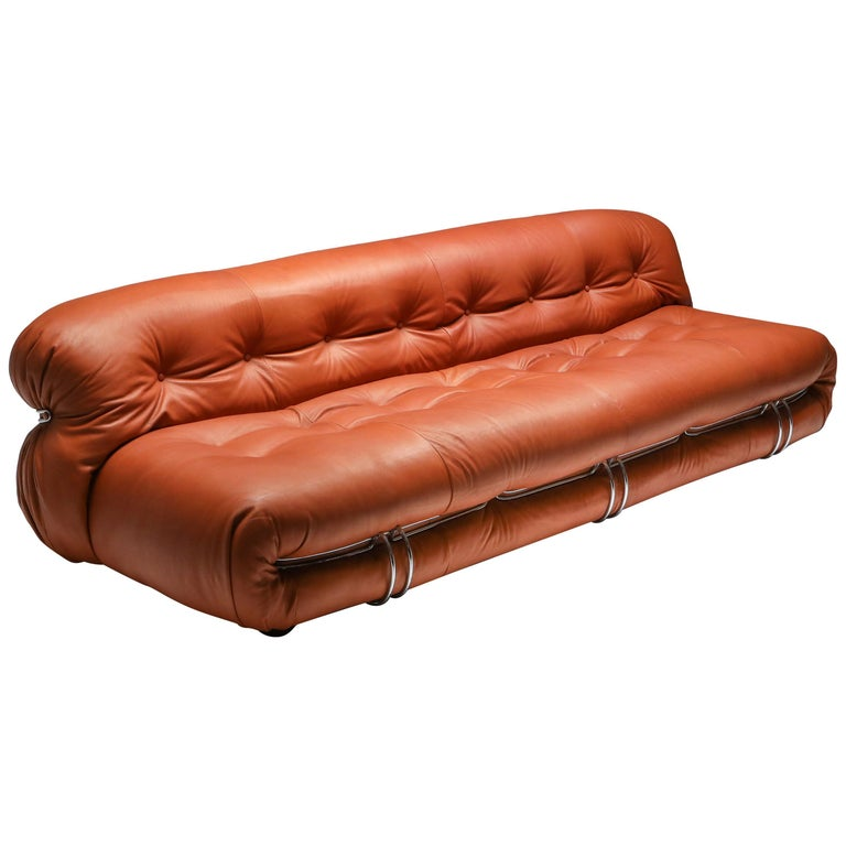 Cassina 'Soriana' Cognac Leather Sofa by Afra and Tobia Scarpa For Sale