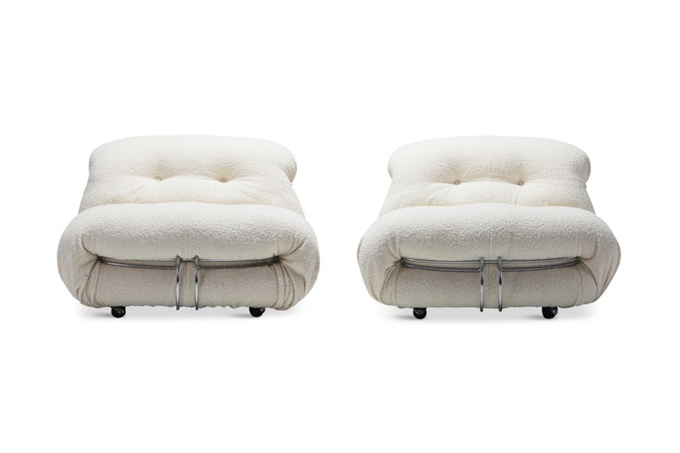 Cassina 'Soriana' Lounge Chairs by Afra and Tobia Scarpa in Bouclé Wool For Sale 5