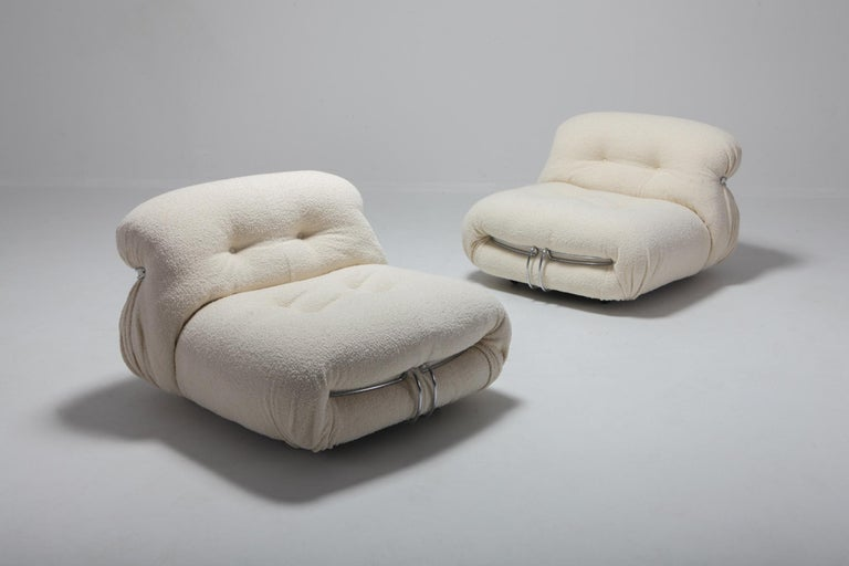 Italian Cassina 'Soriana' Lounge Chairs by Afra and Tobia Scarpa in Bouclé Wool For Sale