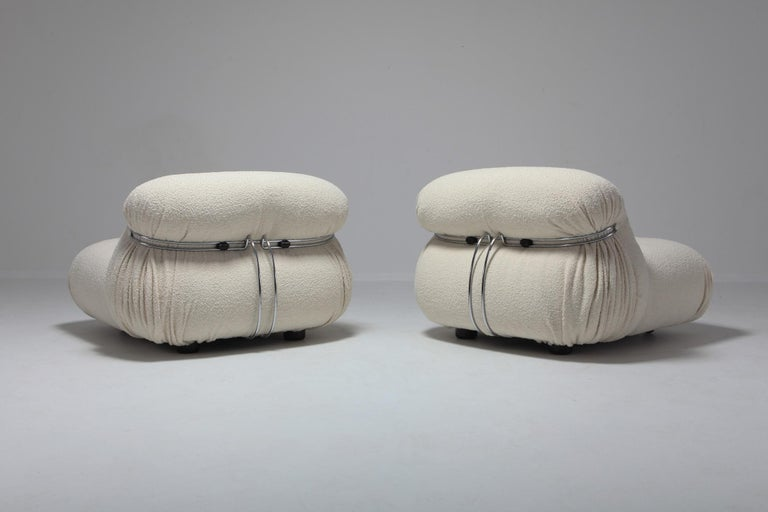 20th Century Cassina 'Soriana' Lounge Chairs by Afra and Tobia Scarpa in Bouclé Wool For Sale