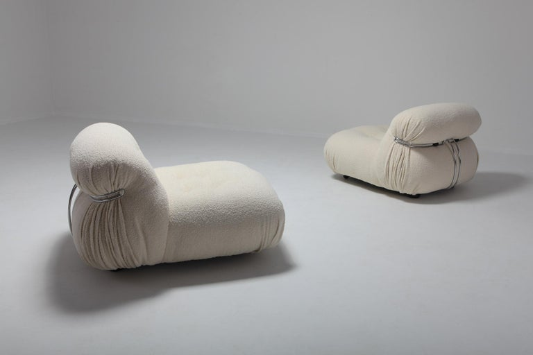 Cassina 'Soriana' Lounge Chairs by Afra and Tobia Scarpa in Bouclé Wool For Sale 1