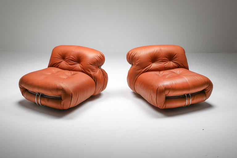 Cassina 'Soriana' Pair of Lounge Chairs by Afra and Tobia Scarpa For Sale 5
