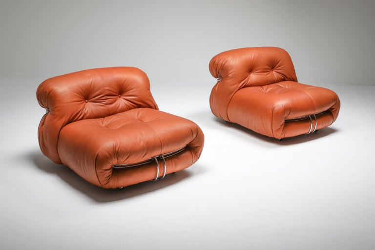Cassina 'Soriana' Pair of Lounge Chairs by Afra and Tobia Scarpa For Sale 8