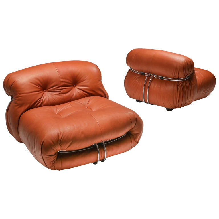 Cassina 'Soriana' Pair of Lounge Chairs by Afra and Tobia Scarpa For Sale