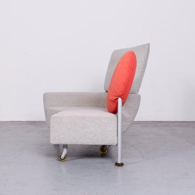 Cassina Topkapi Designer Fabric Sofa Grey Two-Seat Couch 6