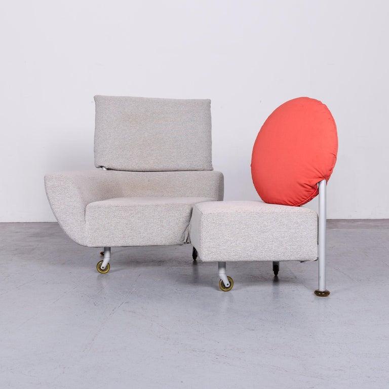 Italian Cassina Topkapi Designer Fabric Sofa Grey Two-Seat Couch