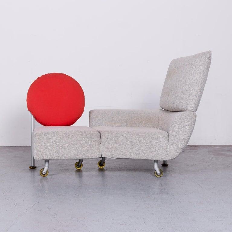 Contemporary Cassina Topkapi Designer Fabric Sofa Grey Two-Seat Couch