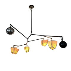 Cassiopeia 7 Bamboo & Brass with globes Chandelier Handmade by Andrea Claire