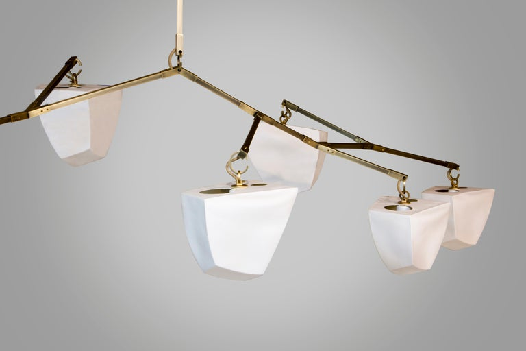 Modern Cassiopeia 7 V2 Porcelain Mobile Chandelier by Andrea Claire Studio For Sale
