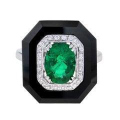 Cassiopeia Art Deco Style Zambia Emerald Diamond Onyx Ring in 18K White Gold
