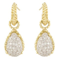 Cassis Yellow Gold Diamond Dangle Earrings