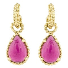 Cassis Yellow Gold Pink Tourmaline Drop Earrings