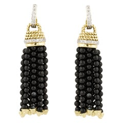 Cassis Yellow and White Gold Black Onyx Diamond Tassel Earrings
