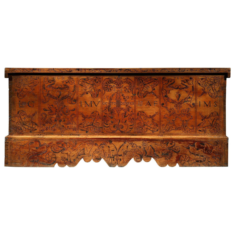 Cassone Chest Cedar Azores 20 October 1592 marriage scrollwork mastic punchwork
