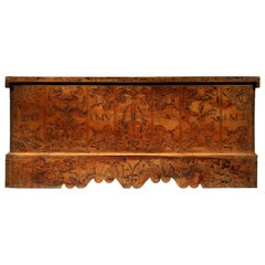 Cassone Chest Cedar Azores 20 October 1592 marriage scrollwork mastic punchwork