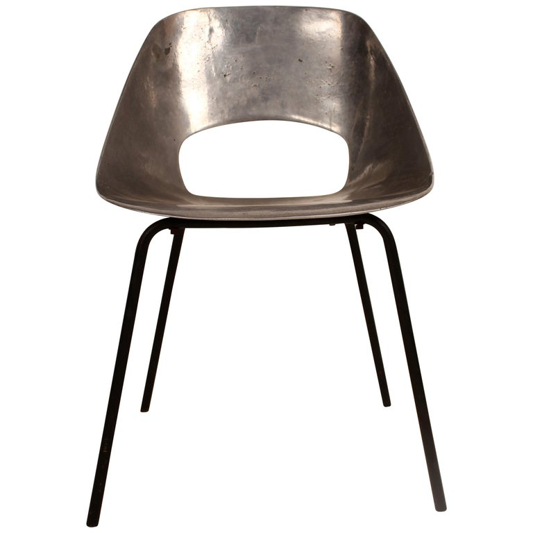 Cast Aluminium Tulip Chair by Pierre Guariche for Steiner, France, 1954 For Sale