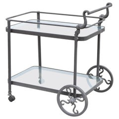 Cast Aluminum 2-Tier Rolling Bar Tea Cart Server Table with Fish Dolphin Handle