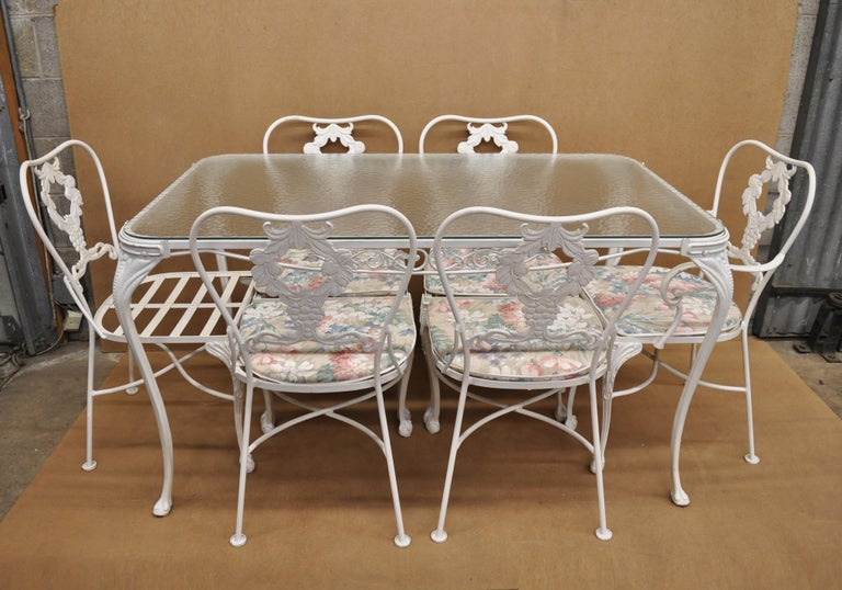 Cast Aluminum 7-Piece Victorian Style Patio Dining Set Table 6 Chairs For Sale 5