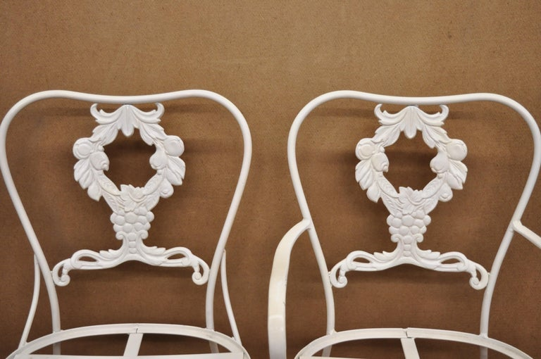 20th Century Cast Aluminum 7-Piece Victorian Style Patio Dining Set Table 6 Chairs For Sale