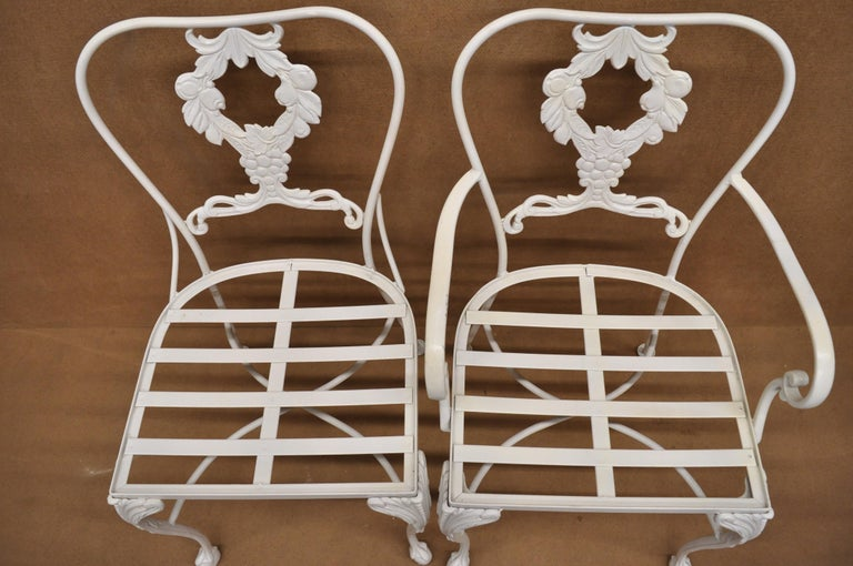 Cast Aluminum 7-Piece Victorian Style Patio Dining Set Table 6 Chairs For Sale 1