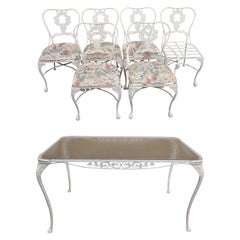 Cast Aluminum 7-Piece Victorian Style Patio Dining Set Table 6 Chairs
