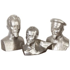 Cast Aluminum Busts of Lenin, USSR, circa 1980s