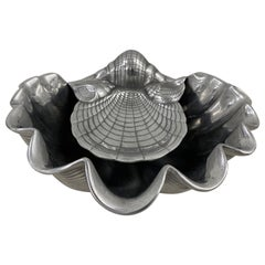 Cast Aluminum Clam Shell Serving Dish by Arthur Court, C.1980s