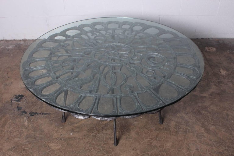 Cast Aluminum Coffee Table by Donald Drumm For Sale 10