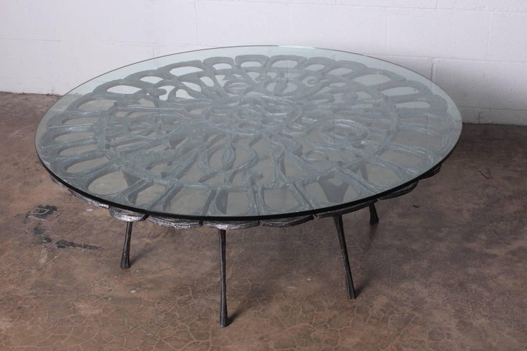 Cast Aluminum Coffee Table by Donald Drumm For Sale 12