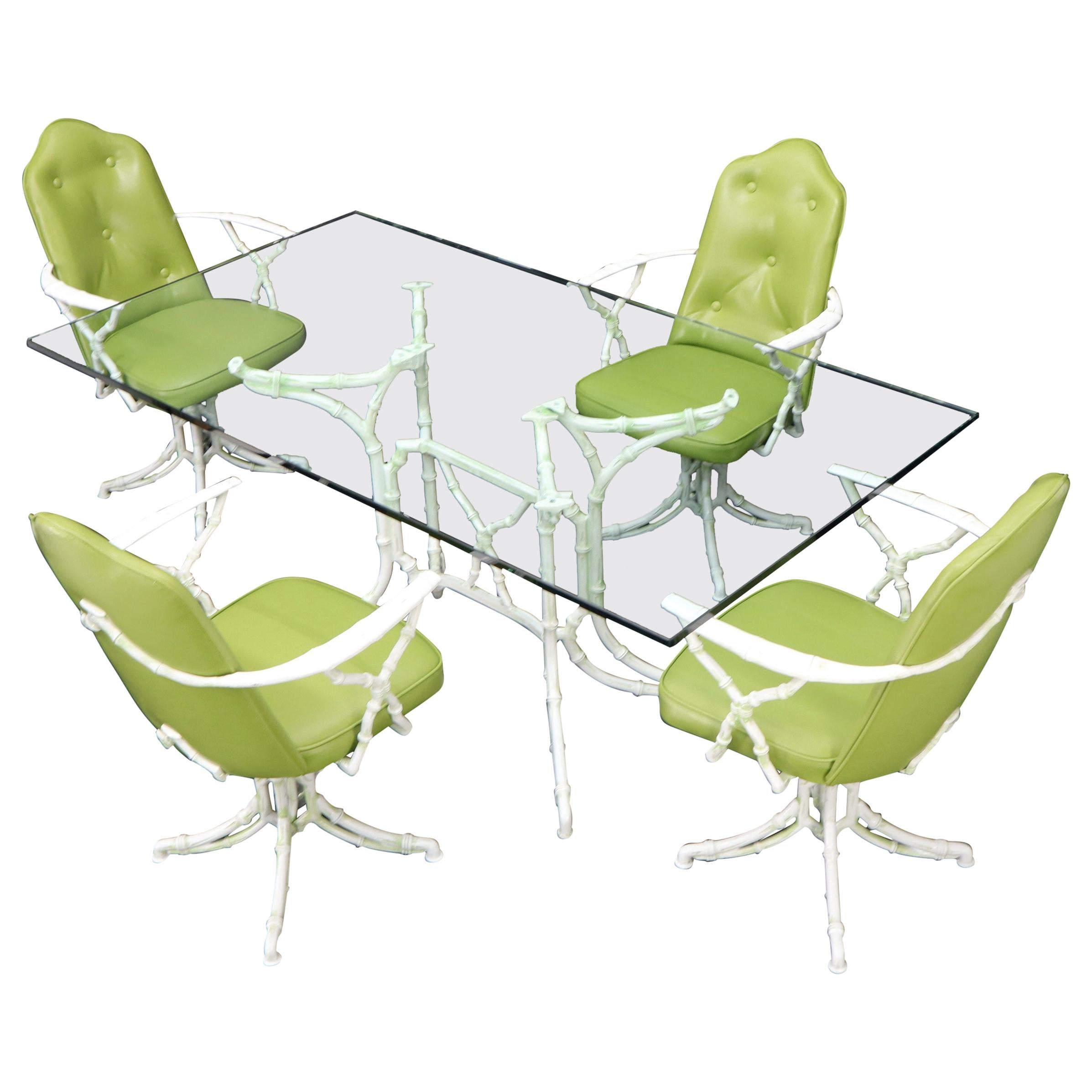 Cast Aluminum Faux Bamboo Dining Table w/ 4 Matching Chairs Outdoors Green Vinyl