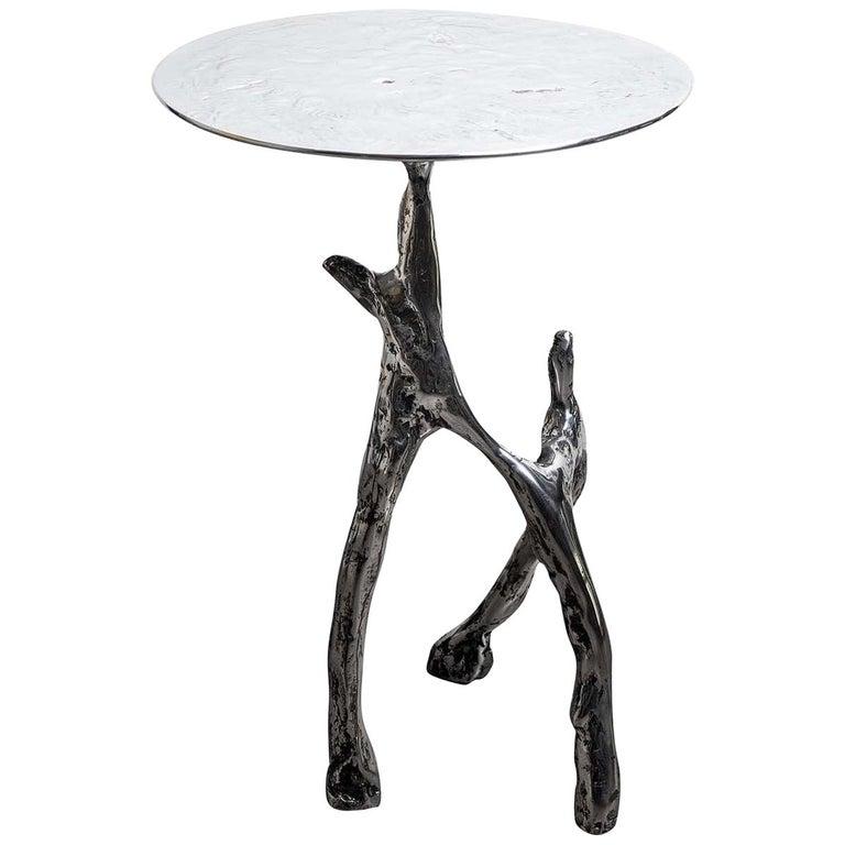 Cast Aluminum Scultura Side Table For Sale