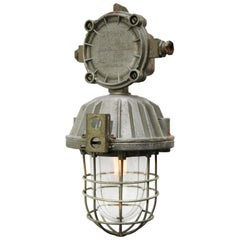 Cast Aluminum Vintage Industrial Clear Glass Cage Hanging Lamp