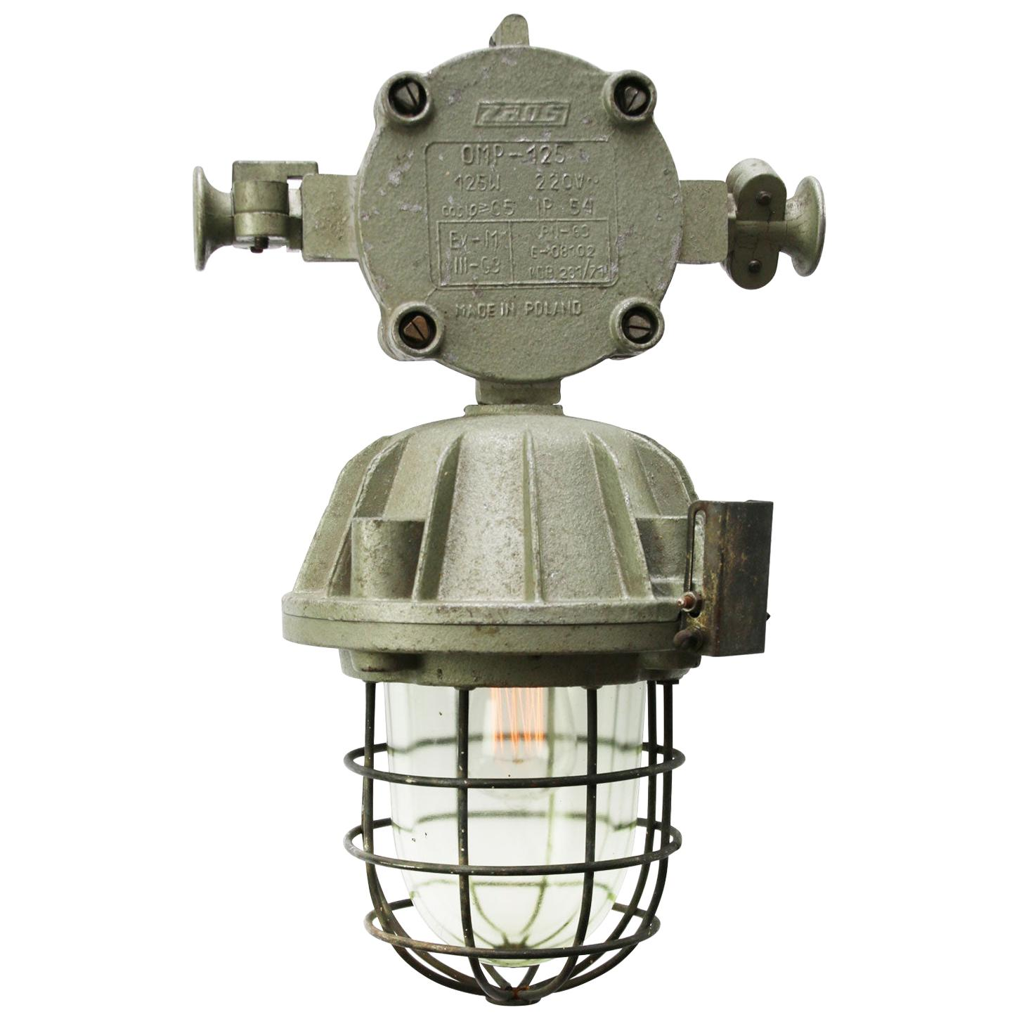 Cast Aluminum Vintage Industrial Clear Glass Cage Hanging Lamps