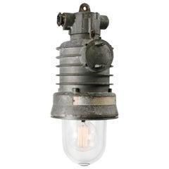Cast Aluminum Vintage Italian Industrial Clear Glass Pendant Lamps